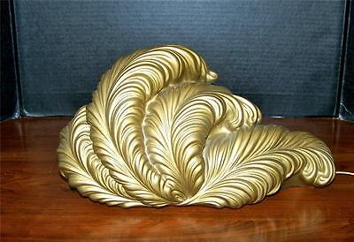 Vintage ~ F.a.i.p. Tv Lamp ~ Gold Feathered Mid-Century Eames Era Chalkware