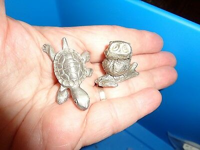Vtg Pewter Owl On Branch & Turtle Running Collectible Figurines Miniature