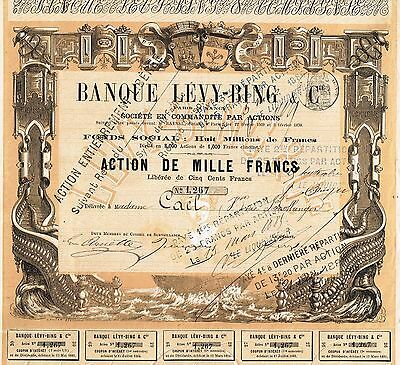 FRANCE LEVY-BING BANK stock certificate 1870 RARE