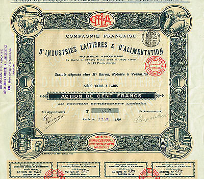 FRANCE DAIRY SUPPLY COMPANY stock certificate 1910
