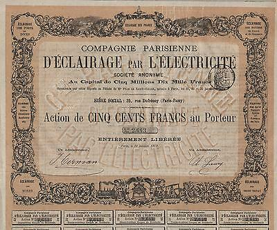 FRANCE PARISIENNE ELECTRIC LIGHT COMPANY stock certificate 1878