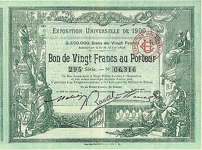 FRANCE UNIVERSAL EXPOSITION OF 1900  stock certificate