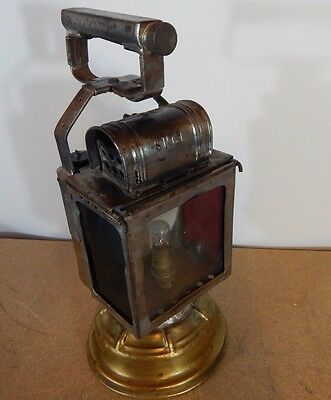 Vintage French SNCF railway lamp / Lantern Brass and glass 33cm tall