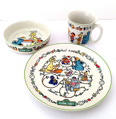 Sesame Street Muppets Gorham Fine China Child's Plate Cup Bowl Set Place Setting