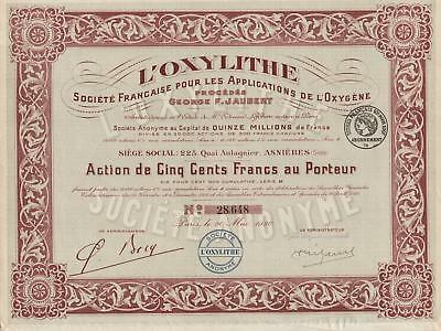 FRANCE OXYLITHE CO stock certificate CHEMICAL 1920