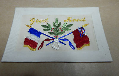 WW1 Silk postcards Good mood British flag french flag with message to wife B2