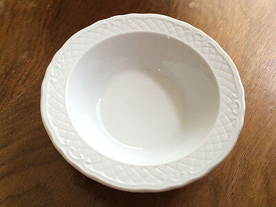 2 Vintage White bowls with white pattern on the edge
