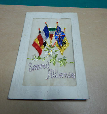 WW1 Silk postcard Sacred Alliance allied flags with message to wife B2