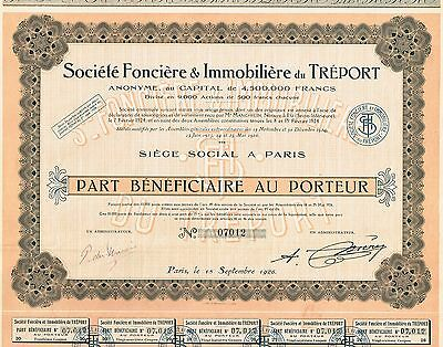 FRANCE TREPORT REAL ESTATE COMPANY stock certificate 1926