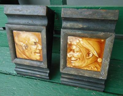 Ca 1880 JESTER & LAUGHING MAN TILES FOR VICTORIAN CAST IRON FIREPLACE FINIAL