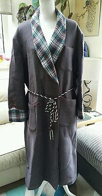 VINTAGE 40s JAEGER London HEATHER Wool Bath Smoking Robe TARTAN , ROPE BELT