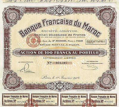 AFRICA FRENCH BANK OF MAROCCO  stock certificate 1924