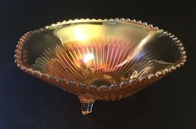 Vintage Jeanette Marigold 3 footed  Carnival Glass Open Candy Dish