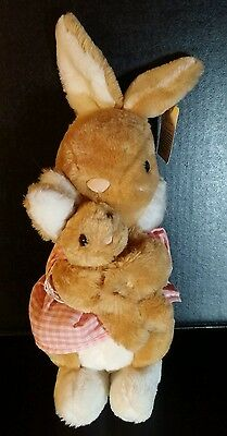 Vintage Dakin Stuffed Plush MaMa & Baby Bunny 1982 Excellent! Tag attached (LB)