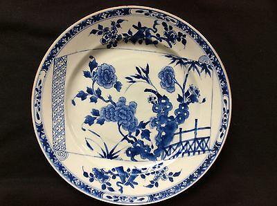 Antique Chinese Blue And White Plate Kangxi Or Qianlong