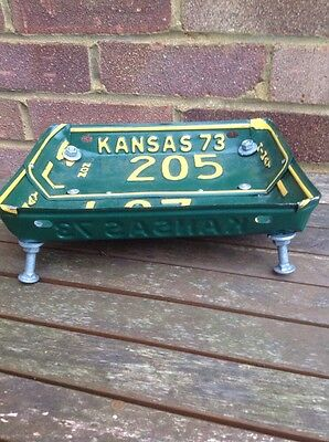 Old Vintage Kansas USA American Number Plates Licence Plates Man Cave Tray Art