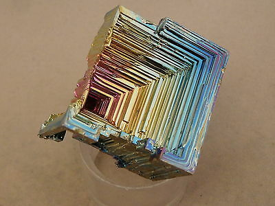 A Really Neat! Pink Blue and Gold BISMUTH Crystal From England 68.3gr