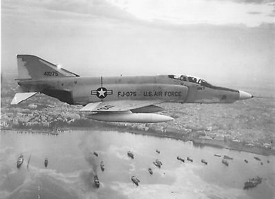 FJ-075 Jet Fighter over harbor~Ramstein Air Base~Official US Air Force photo