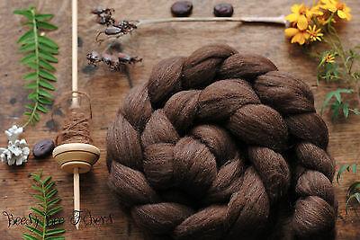 Merino Natural Brown Wool Roving Combed Top Spinning or Felting Fiber 4 oz