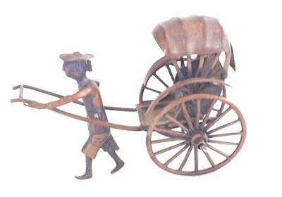 Antique Wang Hing Sterling Silver Miniature Chinese Rickshaw