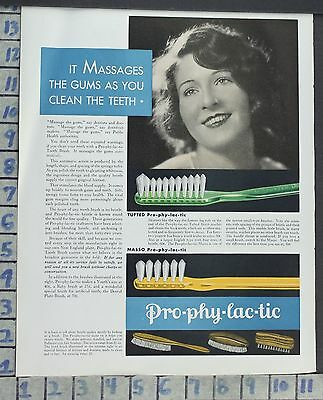 1930 Listerine Tooth Paste Prophylactic Brush Health Beauty Vintage Art Ad Ce85