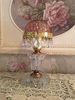 Shabby  Cranberry Glass Chandelier Prism Night Light Table Lamp
