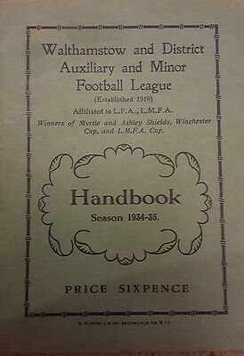 Walthamstow and District Auxiliary & Minor Football League Handbook 1934-35