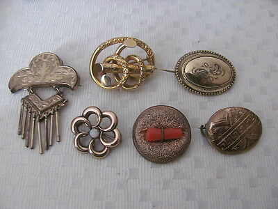 Lot 6  Gold Tone Brooch Pins Vintage To Victorian