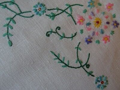 Large Vintage Hand Embroidered Linen Tablecloth 127cm Square. Pretty Flowers