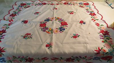 Vtg. hand embroidered Hungarian KALOCSA FOLK EMBROIDERY CUTWORK DOILY Tablecloth
