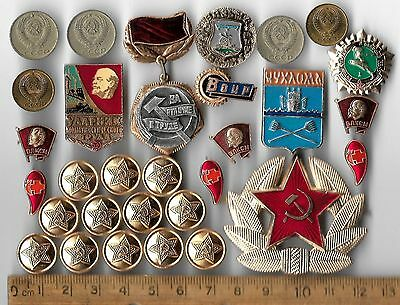 COLD WAR Russia Russian Civil Pin Red Star Medal Army Lenin CCCP Coin Gift Lot