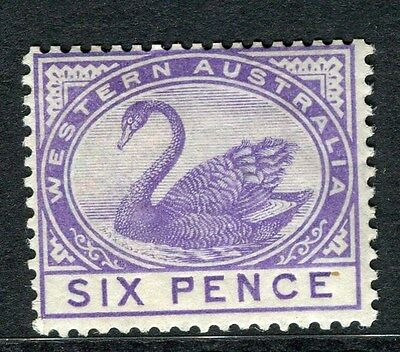 WESTERN AUSTRALIA;  1890s early Swan type Mint hinged 6d. value