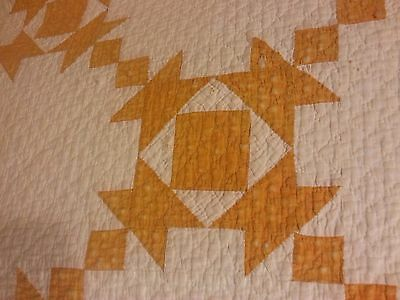 "Antique 1920 Quilt Cheddar New Binding 72"" x 82"""