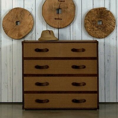 """45"""" w Caleb Chest of drawer canvas trunk wood brass nailheads antiqued leather"""