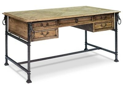 "62"" w Andrea Desk iron walnut wood industrial gray bleached finish hand crafted"