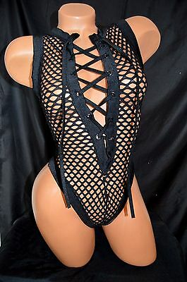 Exotic Dancer Stripper Black NET Lace up One Piece Thong Back Romper ~ Dancewear