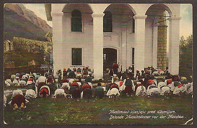 Austria / Bosnia. 1910. Postcard Of Muslims At Prayer Outside. Brcko Cancel. Use