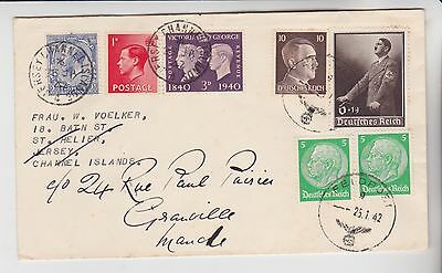 Gb Occupied Jersey Stamps 1942 Occupation Envelope Redirected To Normandy