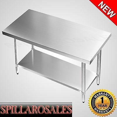 Kitchen Work Bench 430 Stainless Steel Table Restaurant Style Prep Table 1.2m
