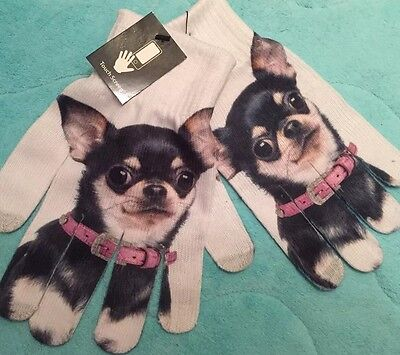 Last Few ~ Wonderful Light CHIHUAHUA DOG GLOVES ~ Touchscreen Phone Compatible