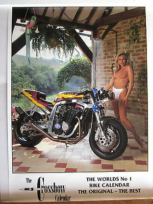 motorcycle glamour poster. Gaynor Goodman. Crossbow Fairings poster. 1990s.