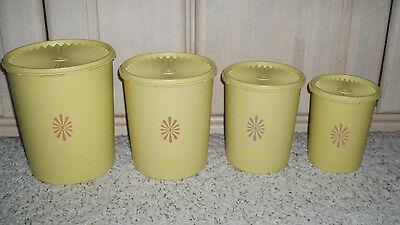 8 Pc Vintage TUPPERWARE Servalier Canister Set~Yellow with Gold Emblem