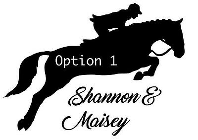 Cross Country Horse jumping decal stickers for horsebox or trailer & Tack Room