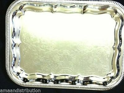 "2 X Serving Tray, Chrome Silver Rectangular Platter 41Cm X 30Cm (16""x12"")"