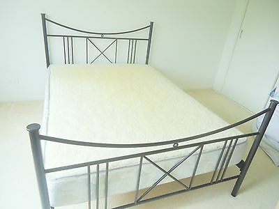 Wrought iron double bed + double mattress French provincial black