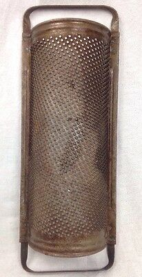 Vintage HUGE KITCHEN GRATER METAL HANDLE FARMHOUSE DECOR ROUND CHEESE industrial