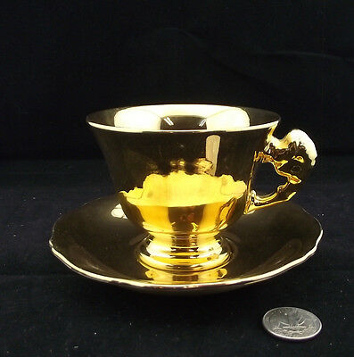 Royal Winton Grimwades Gold Cabinet Tea Cup And Saucer With Fancy Handle