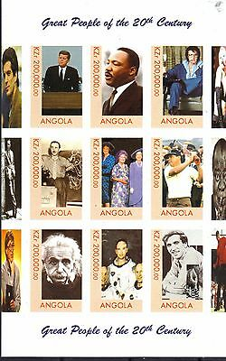 Angola Great People 20th Century MNH S/S Imperforated Kennedy Presley Einstein