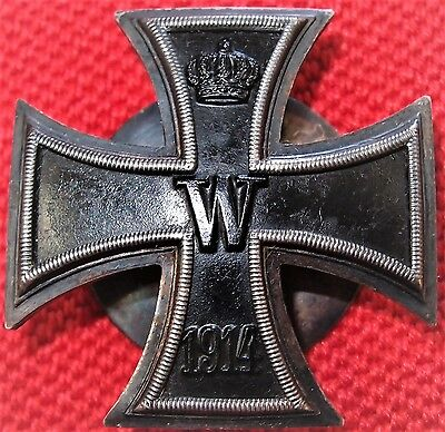WW1 CONVEX SCREWBACK GERMAN IRON CROSS 1st CLASS FOR BRAVERY COMBAT MEDAL BADGE