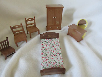 Doll Furuniture 7 Pcs Bandai 1986 Maple Town Story Bed Chairs Dresser Table